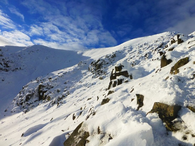 View of Swirral Edge in the Snow
