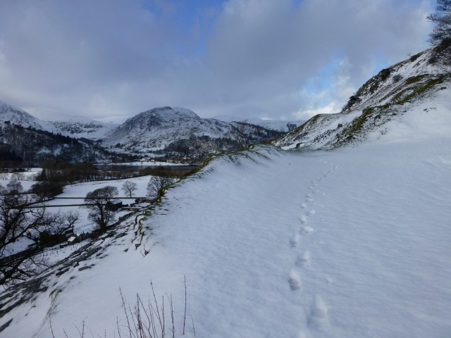 Footsteps in the snow above Ullswater