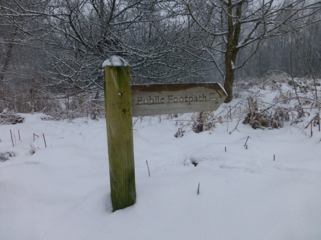 Footpath Sign in the Snow