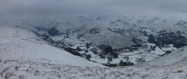Helvellyn, Brotherswater and Ullswater Snow Panorama