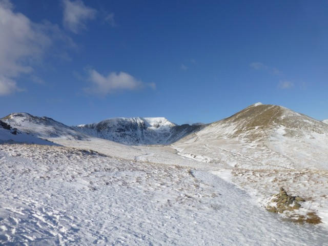 Helvellyn, Catstycam and Striding Edge from Hole in the Wall