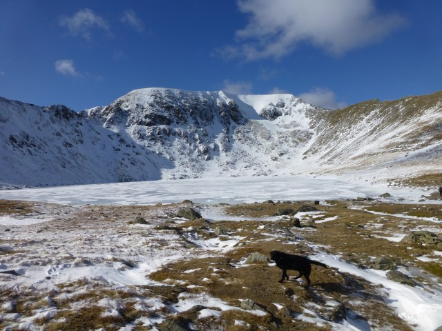Frozen Red Tarn and Helvellyn
