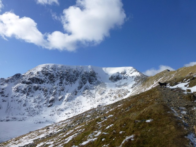 Morgan on the path up to Swirral Edge