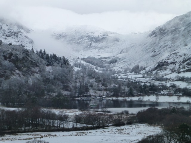 View across Ullswater to Greenside