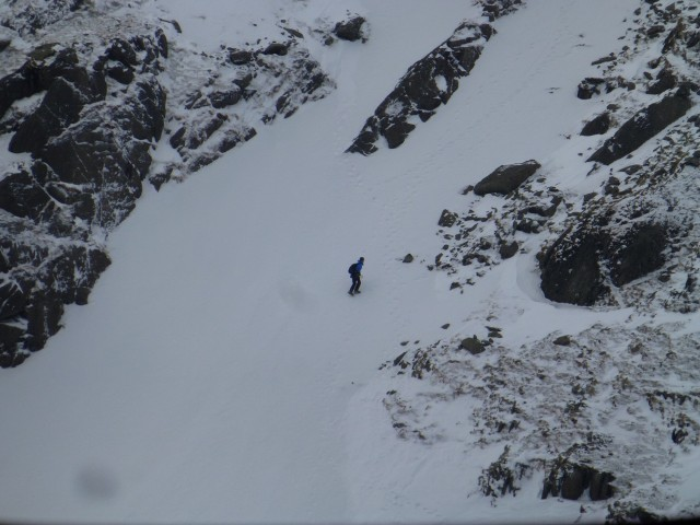 Man on Helvellyn Snow Gulley