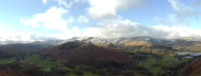 Panorama from Boredale Hause towards Helvellyn