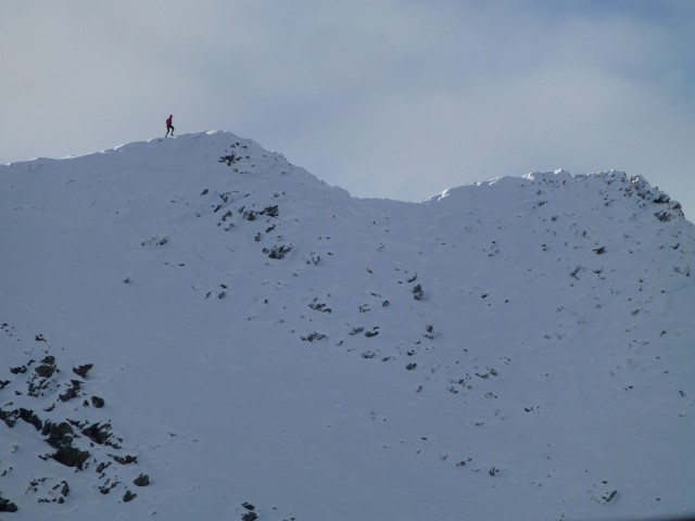 Running along the top of Striding Edge (not me!)