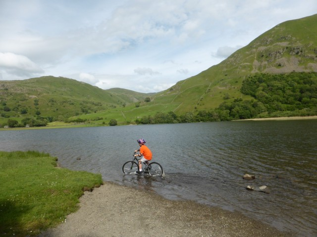 My son trying a new form of water biking in Brotherswater
